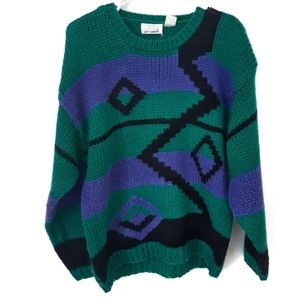 Vintage Green and Purple Knit Sweater